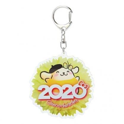 〔小禮堂〕布丁狗 花朵造型壓克力鑰匙圈《黃》掛飾.鎖圈.2020花漾系列