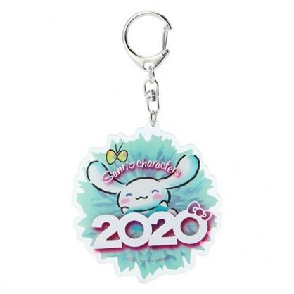 〔小禮堂〕大耳狗 花朵造型壓克力鑰匙圈《藍》掛飾.鎖圈.2020花漾系列