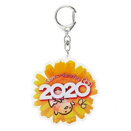 〔小禮堂〕蛋黃哥 花朵造型壓克力鑰匙圈《黃》掛飾.鎖圈.2020花漾系列