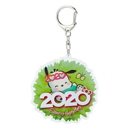 〔小禮堂〕帕恰狗 花朵造型壓克力鑰匙圈《綠》掛飾.鎖圈.2020花漾系列