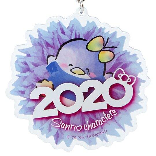 〔小禮堂〕山姆企鵝 花朵造型壓克力鑰匙圈《藍》掛飾.鎖圈.2020花漾系列