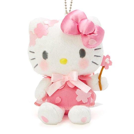 〔小禮堂〕Hello Kitty 絨毛玩偶娃娃吊飾《粉白》掛飾.鑰匙圈.燦爛櫻花系列