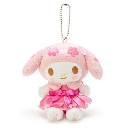 〔小禮堂〕美樂蒂 絨毛玩偶娃娃吊飾《粉白》掛飾.鑰匙圈.燦爛櫻花系列