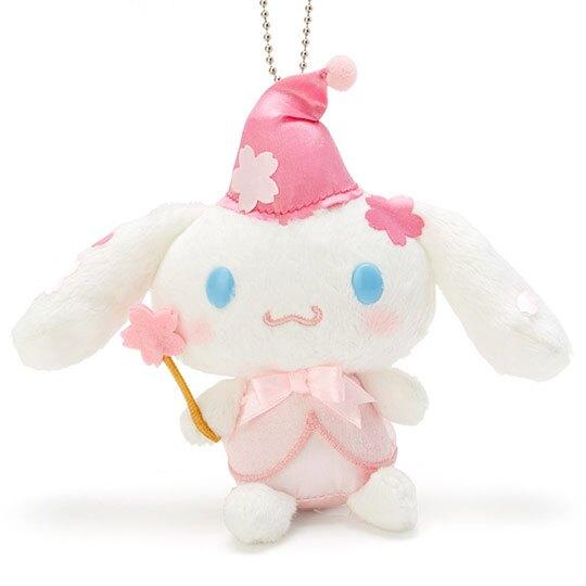 〔小禮堂〕大耳狗 絨毛玩偶娃娃吊飾《粉白》掛飾.鑰匙圈.燦爛櫻花系列