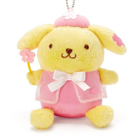 〔小禮堂〕布丁狗 絨毛玩偶娃娃吊飾《粉黃》掛飾.鑰匙圈.燦爛櫻花系列