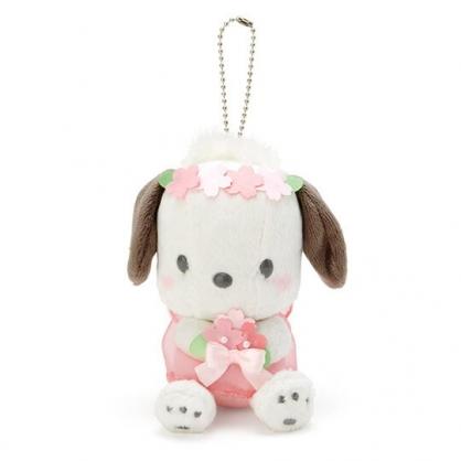 〔小禮堂〕帕恰狗 絨毛玩偶娃娃吊飾《粉白》掛飾.鑰匙圈.燦爛櫻花系列