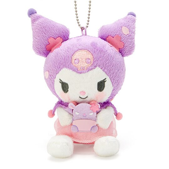 〔小禮堂〕酷洛米 絨毛玩偶娃娃吊飾《粉紫》掛飾.鑰匙圈.燦爛櫻花系列