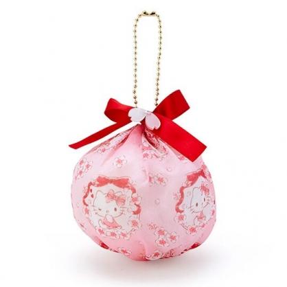 〔小禮堂〕Hello Kitty 球形透明絲質吊飾零錢包《紅粉》掛飾收納包.燦爛櫻花系列