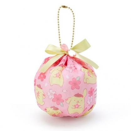 〔小禮堂〕布丁狗 球形透明絲質吊飾零錢包《粉黃》掛飾收納包.燦爛櫻花系列