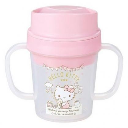 〔小禮堂〕Hello Kitty 日製透明直飲幼兒雙耳學習杯《粉白.抱小熊》150ml.隨身杯
