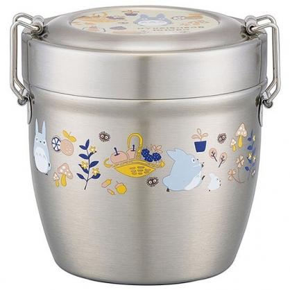 〔小禮堂〕宮崎駿 Totoro龍貓 超輕量圓形雙層不鏽鋼便當盒《銀黃.提籃》570ml.餐盒