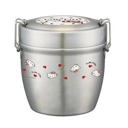 〔小禮堂〕Hello Kitty 超輕量圓形雙層不鏽鋼便當盒《銀紅.大臉》570ml.餐盒