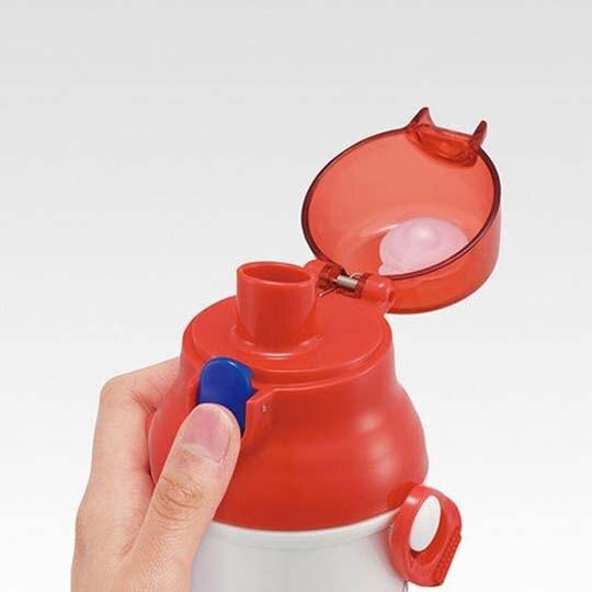 〔小禮堂〕史努比 日製直飲式水壺附背帶《紅白.數字》480ml.水瓶.兒童水壺