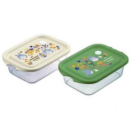 〔小禮堂〕宮崎駿Totoro龍貓 日製方形透明保鮮盒組《2入.米綠.提籃》500ml.便當盒.餐盒