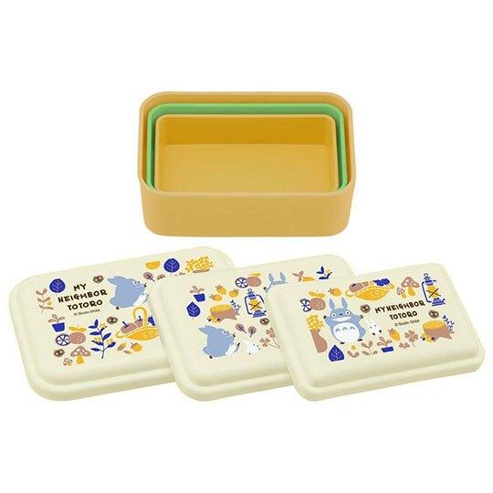 〔小禮堂〕宮崎駿Totoro龍貓 日製方形保鮮盒組《3入.米黃.提籃》便當盒.食物盒.餐盒