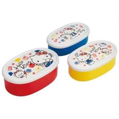 〔小禮堂〕Hello Kitty 日製橢圓形保鮮盒組《3入.紅白.水彩筆》便當盒.食物盒.餐盒