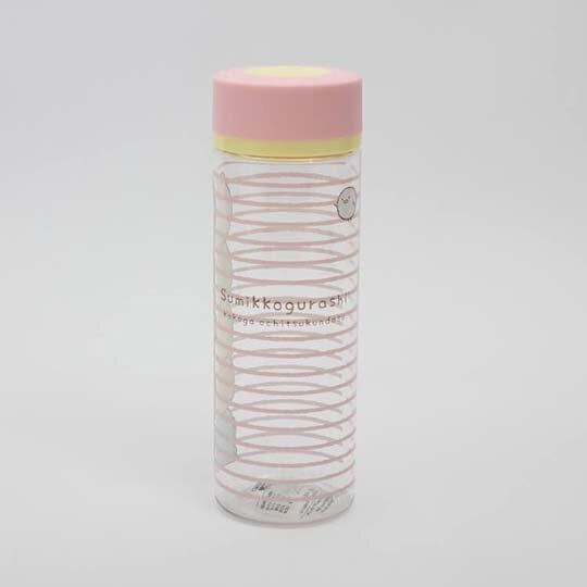 〔小禮堂〕角落生物 透明隨身冷水瓶《粉蓋.橫條》400ml.水壺.隨身瓶