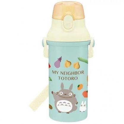 〔小禮堂〕宮崎駿Totoro龍貓 日製直飲式水壺附背帶《藍米.水果》480ml.水瓶.兒童水壺