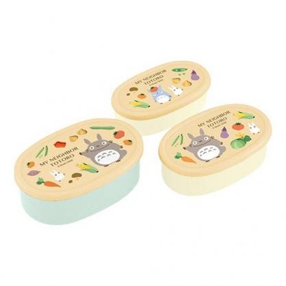 〔小禮堂〕宮崎駿Totoro龍貓 日製橢圓形保鮮盒組《3入.橘米.水果》便當盒.食物盒.餐盒