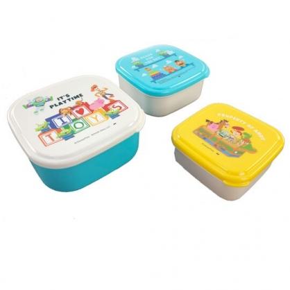 〔小禮堂〕迪士尼 玩具總動員 日製方形保鮮盒組《3入.米綠.文字方塊》便當盒.食物盒.餐盒