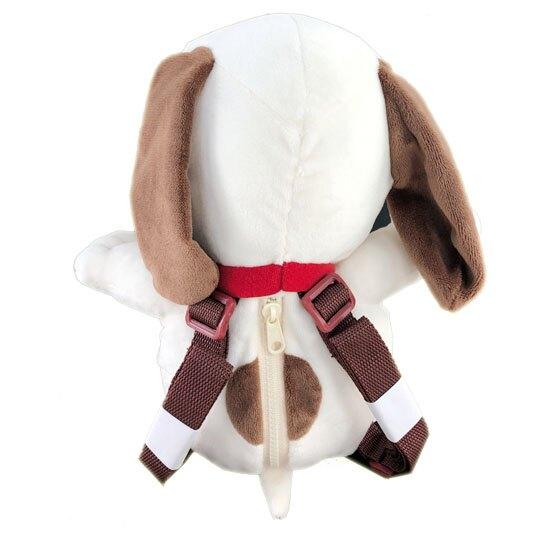 〔小禮堂〕史努比 絨毛玩偶娃娃造型拉鍊後背包《米棕》雙肩包.造型背包