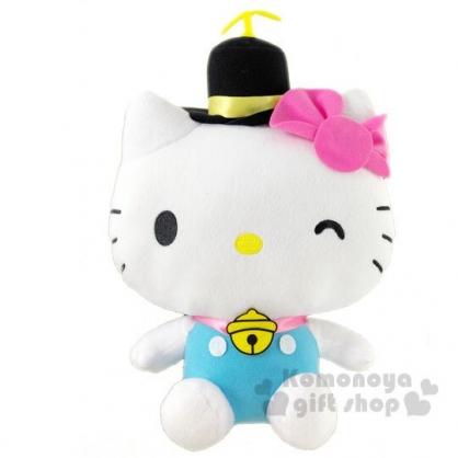 〔小禮堂〕Hello Kitty x 哆啦A夢 絨毛玩偶娃娃《L.粉藍》玩具.擺飾
