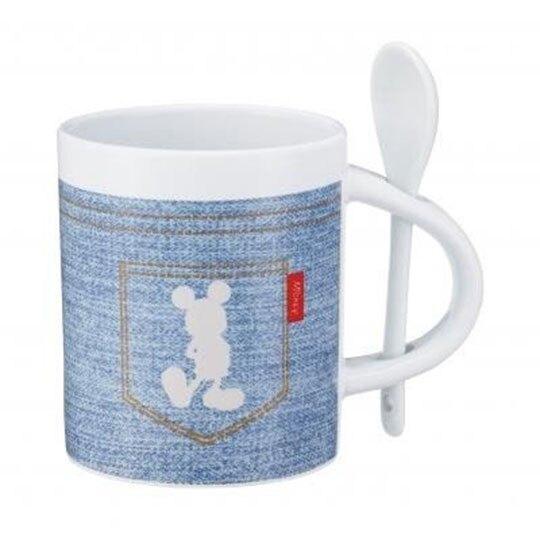〔小禮堂〕迪士尼 米奇 陶瓷馬克杯湯匙組《2款隨機.藍》350ml.咖啡杯.茶杯