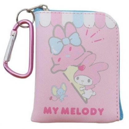 〔小禮堂〕美樂蒂 迷你方形皮質拉鍊零錢包《粉藍.冰淇淋》掛飾.收納包.耳機包