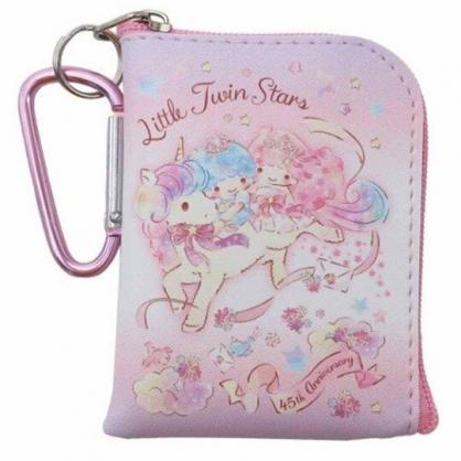 〔小禮堂〕雙子星 迷你方形皮質拉鍊零錢包《粉紫.獨角獸》掛飾.收納包.耳機包