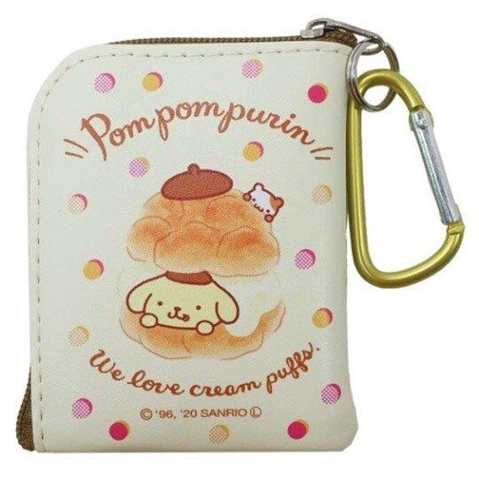 〔小禮堂〕布丁狗 迷你方形皮質拉鍊零錢包《黃棕.鬆餅》掛飾.收納包.耳機包