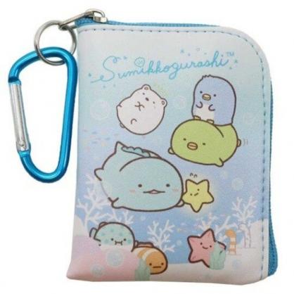 〔小禮堂〕角落生物 迷你方形皮質拉鍊零錢包《綠藍.海底》掛飾.收納包.耳機包