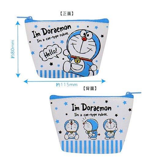 〔小禮堂〕哆啦A夢 皮質船形零錢包《藍白.星星》耳機包.收納包