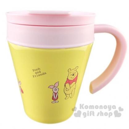 〔小禮堂〕迪士尼 小熊維尼 單耳不鏽鋼杯附蓋《黃粉.牽手》280ml.保溫杯.茶杯.咖啡杯