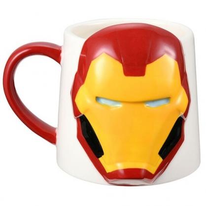 〔小禮堂〕漫威英雄Marvel鋼鐵人 造型陶瓷馬克杯《紅白.大臉》300ml.茶杯.咖啡杯