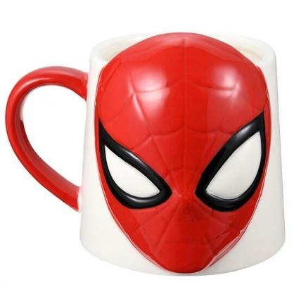 〔小禮堂〕漫威英雄Marvel蜘蛛人 造型陶瓷馬克杯《紅白.大臉》300ml.茶杯.咖啡杯