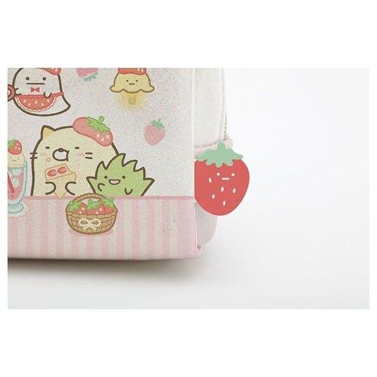〔小禮堂〕角落生物 防水雙層拉鍊筆袋《白紅.草莓》鉛筆盒.化妝包.收納包