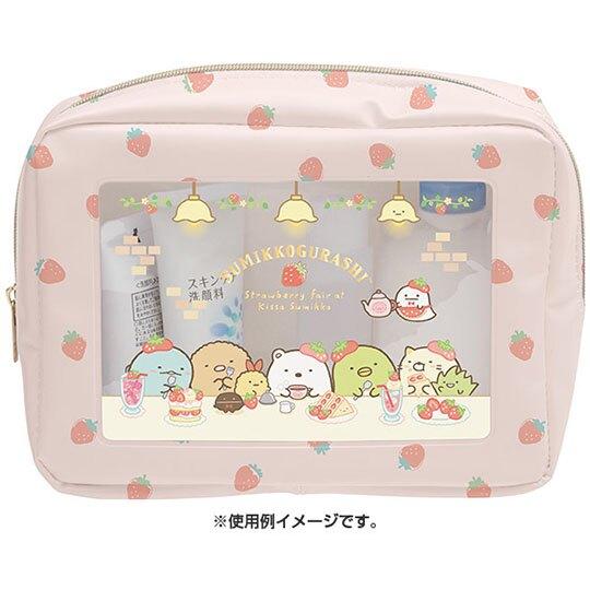 〔小禮堂〕角落生物 方形透明防水拉鍊化妝包《白紅.草莓》收納包.盥洗包