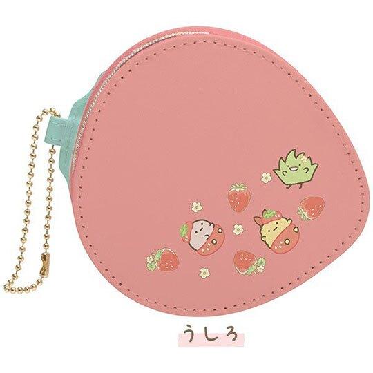 〔小禮堂〕角落生物 草莓造型皮質吊飾零錢包《紅綠》掛飾收納包
