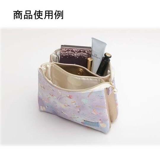 〔小禮堂〕憂傷馬戲團 方形皮質雙層拉鍊化妝包《紫.沙漏》收納包.萬用包
