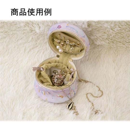 〔小禮堂〕憂傷馬戲團 造型耳朵皮質圓形飾品收納包《紫.沙漏》化妝包