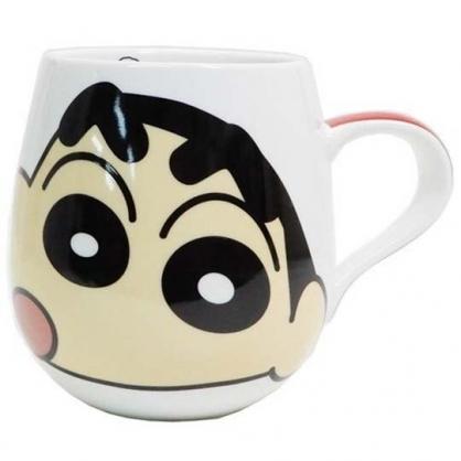 〔小禮堂〕蠟筆小新 胖胖陶瓷馬克杯《白.大臉》茶杯.咖啡杯.湯杯