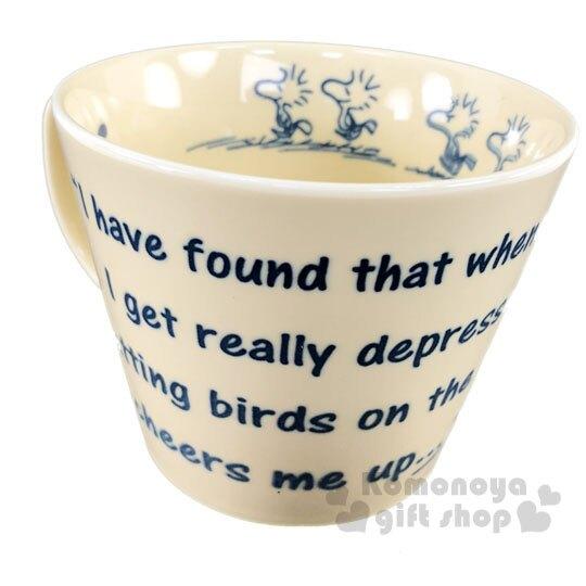 〔小禮堂〕史努比 糊塗塔客 日製寬口陶瓷馬克杯《黃.文字》400ml.茶杯.咖啡杯.YAMAKA陶瓷