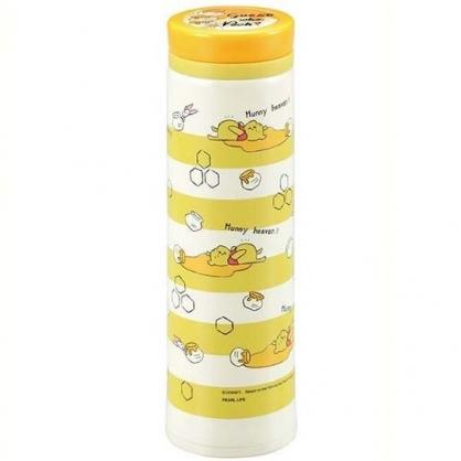 〔小禮堂〕迪士尼 小熊維尼 旋轉蓋不鏽鋼保溫瓶《黃白.橫紋》500ml.水壺.水瓶.隨手瓶