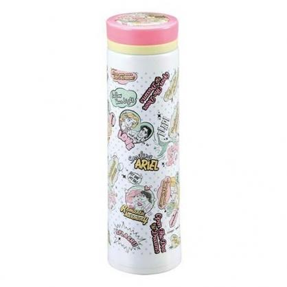 〔小禮堂〕迪士尼 公主 旋轉蓋不鏽鋼保溫瓶《粉白.對話框》500ml.水壺.水瓶.隨手瓶