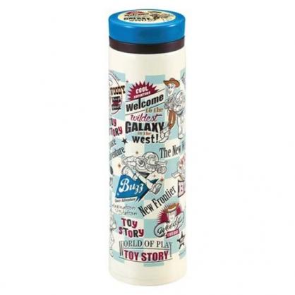 〔小禮堂〕迪士尼 玩具總動員 旋轉蓋不鏽鋼保溫瓶《綠米.格紋》500ml.水壺.水瓶.隨手瓶