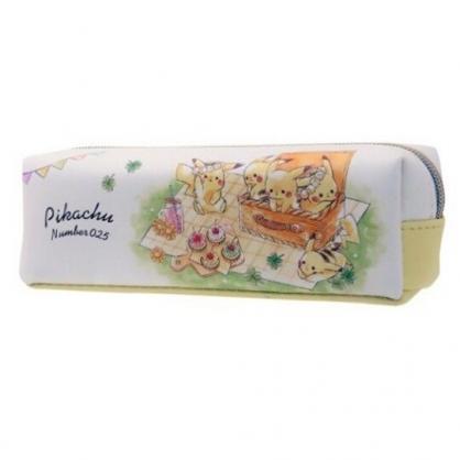 〔小禮堂〕神奇寶貝Pokemon 皮卡丘 皮質拉鍊筆袋《黃綠.野餐》化妝包.收納包.鉛筆盒