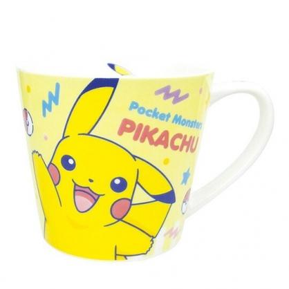 〔小禮堂〕神奇寶貝Pokemon 皮卡丘 寬口陶瓷馬克杯《黃.招手》茶杯.咖啡杯