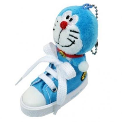 〔小禮堂〕哆啦A夢 帆布鞋造型絨毛玩偶娃娃吊飾《藍白》掛飾.鑰匙圈.鎖圈