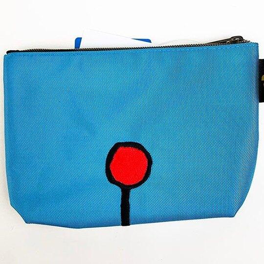 〔小禮堂〕哆啦A夢 帆布刺繡船形化妝包《藍米.大臉》收納包.萬用包