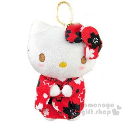 〔小禮堂〕Hello Kitty 絨毛玩偶娃娃吊飾《紅黑和服》掛飾.鑰匙圈.鎖圈